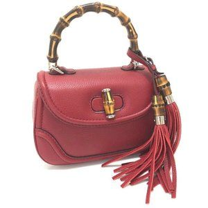 GUCCI Fringe New Bamboo Hand Bag 2way bag Red Leat